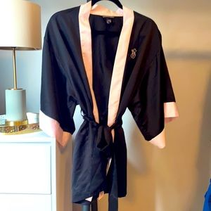 Victoria's Secret Black and Pink Classic Robe